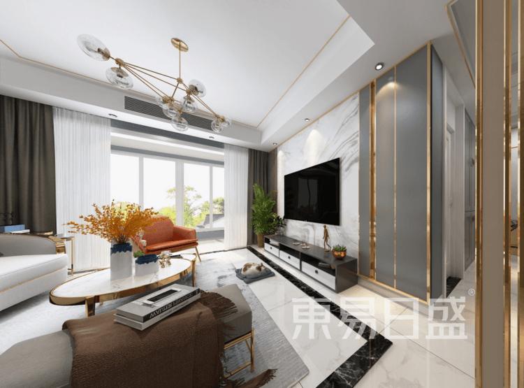 四季原著二期-现代轻奢客厅装修效果图