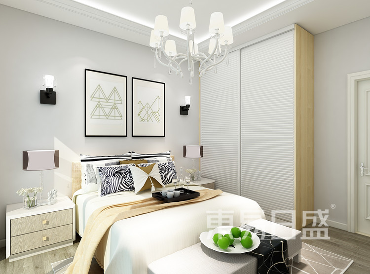环秀湖花园现代简约106㎡卧室装修效果图