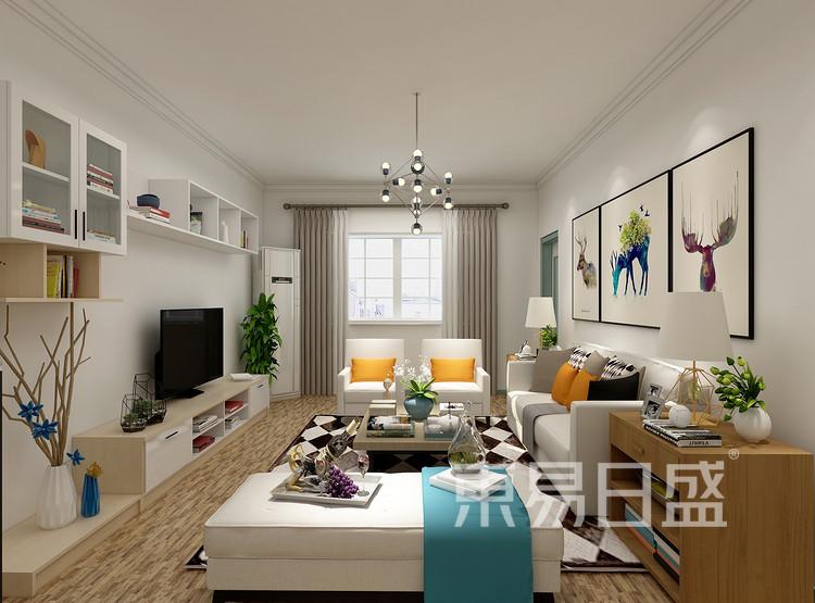 太湖汇景现代简约93㎡客厅装修效果图