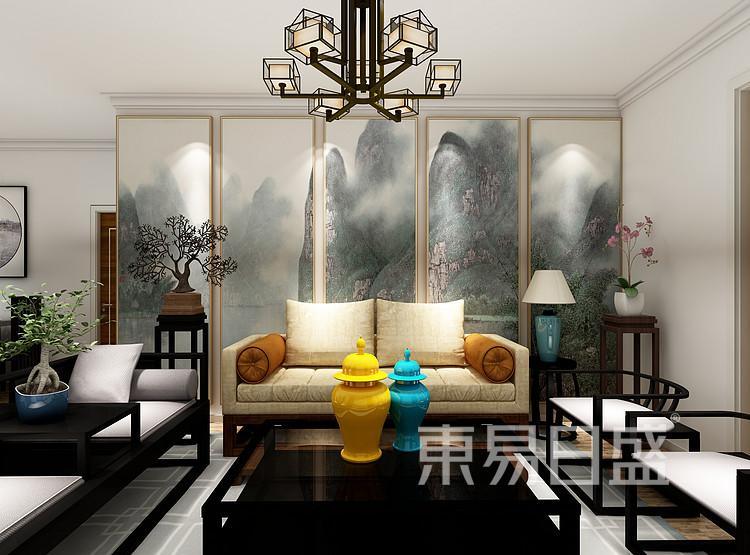 申花壹号院-新中式风格-沙发背景第一视角效果图