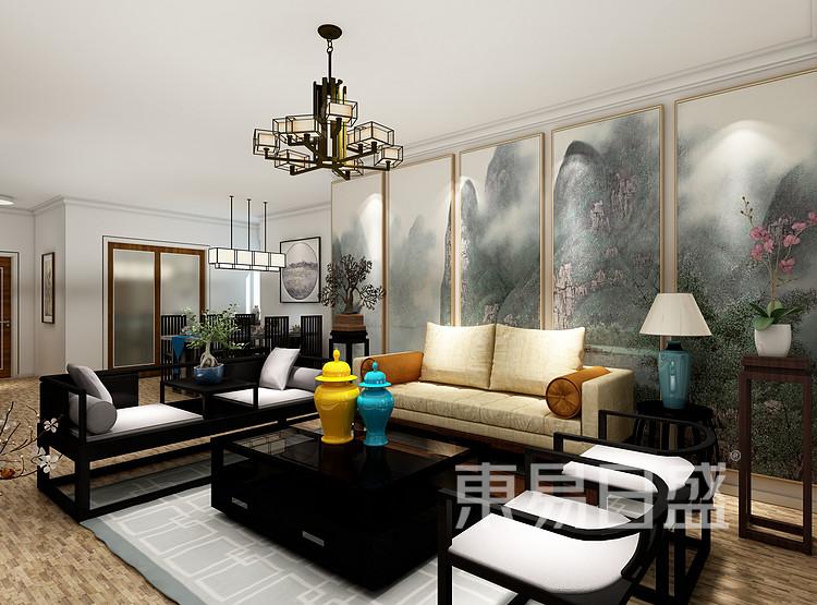 申花壹号院-新中式风格-沙发背景第二视角效果图