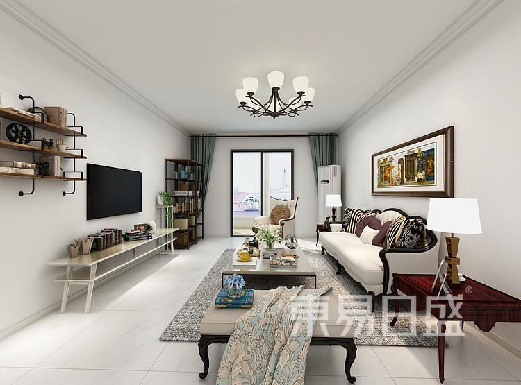 阳光国际-新中式风格-客厅效果图