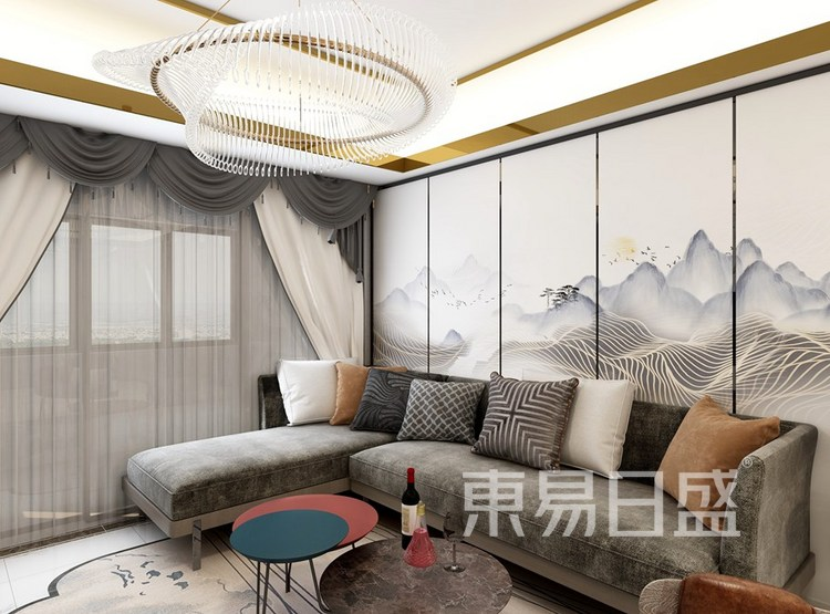 新中式风格-客厅-装修效果图
