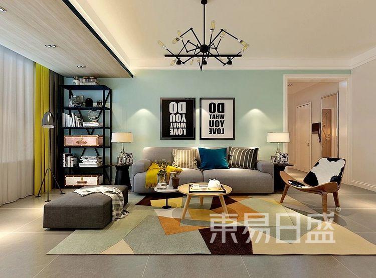 重庆金辉中央名著96㎡北欧风格——客厅效果图