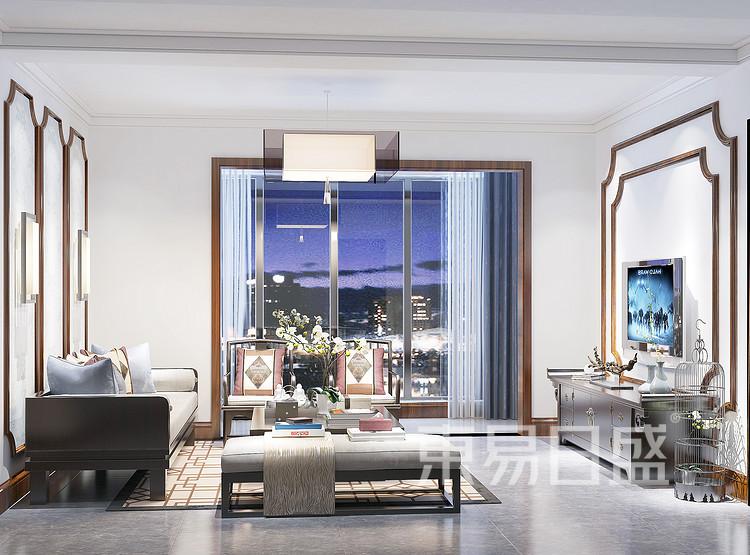 九龙仓繁华里新中式105㎡客厅装修效果图