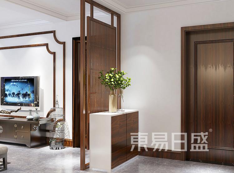 九龙仓繁华里新中式105㎡客厅门厅效果图