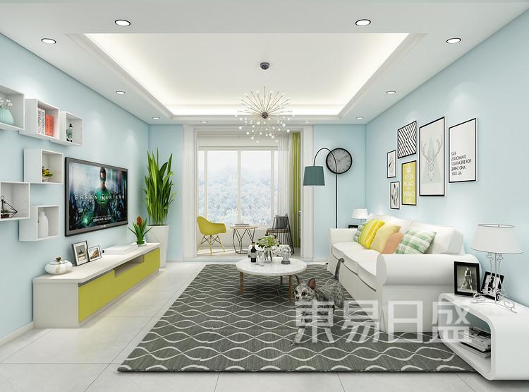 建发中泱天成现代简约99㎡客厅装修效果图