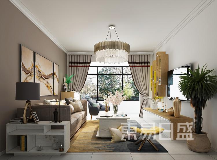 建发中泱天成现代简约90㎡客厅装修效果图