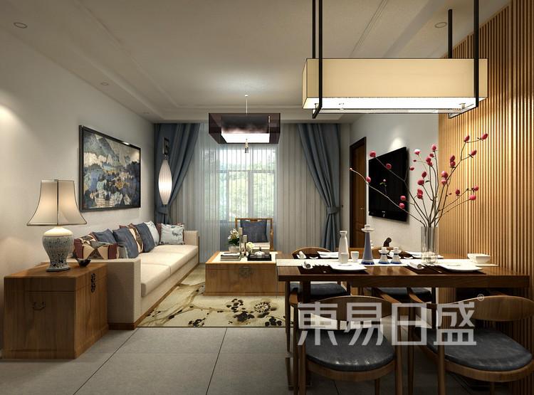 金科观天下新中式106㎡客厅装修效果图