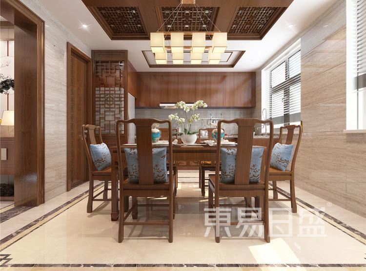 新中式风格厨房+餐厅效果图