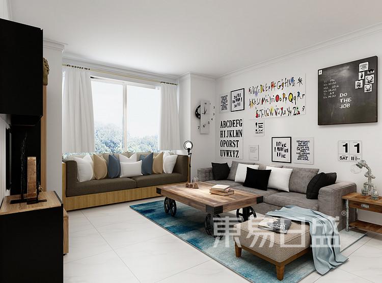 水漾花城现代简约122㎡客厅装修效果图