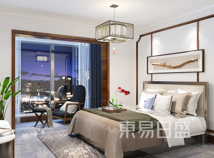 新中式风格装修效果图-卧室