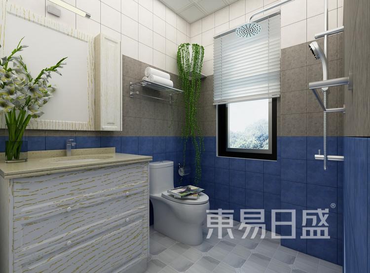 洗手间木质与花砖的结合