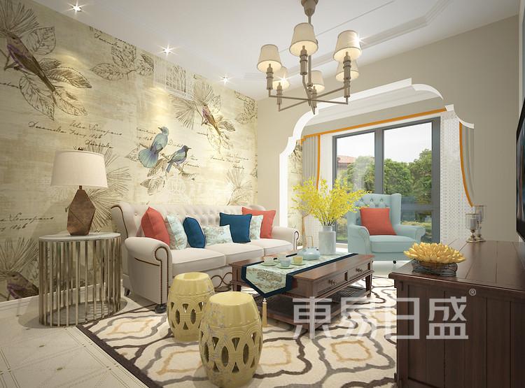 香溢紫郡设计案例-客厅装修效果图