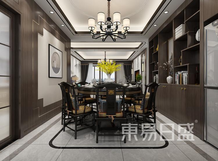 青岛装修公司-新中式设计案例-餐厅装修效果图