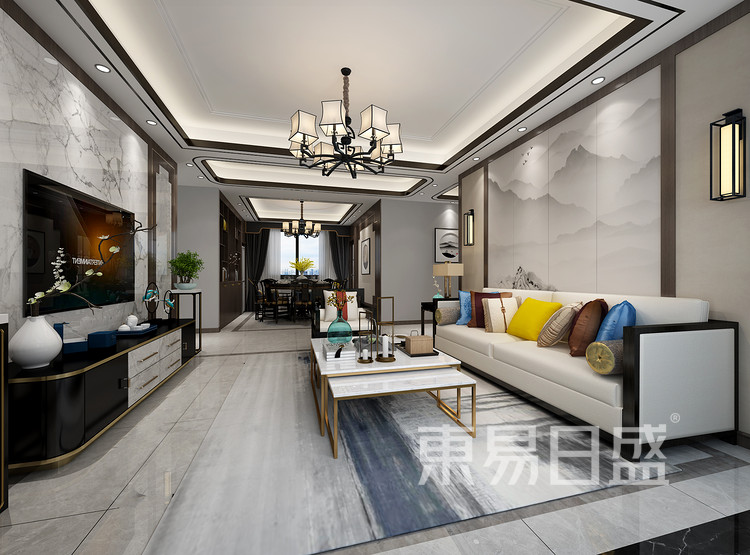 青岛装修公司-新中式设计案例-客厅装修效果图