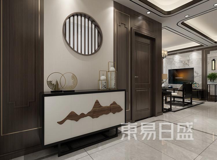 青岛装修公司-新中式设计案例-玄关装修效果图