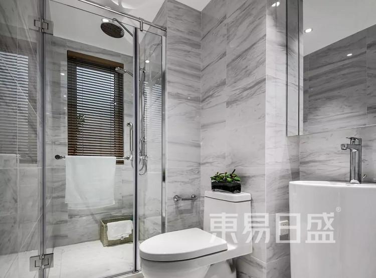 青岛装修公司-新中式设计案例-卫生间装修效果图