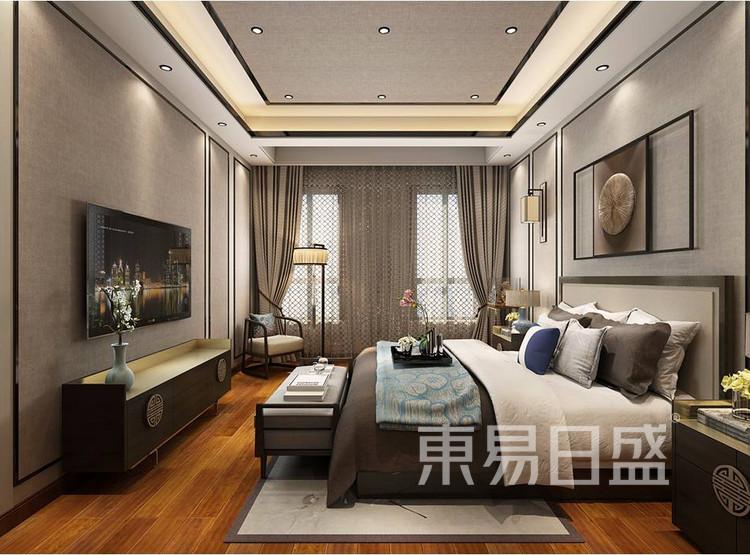 青岛装修公司-新中式设计案例-卧室装修效果图