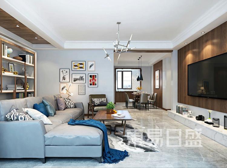 青岛装修公司-现代简约设计案例-客厅装修效果图