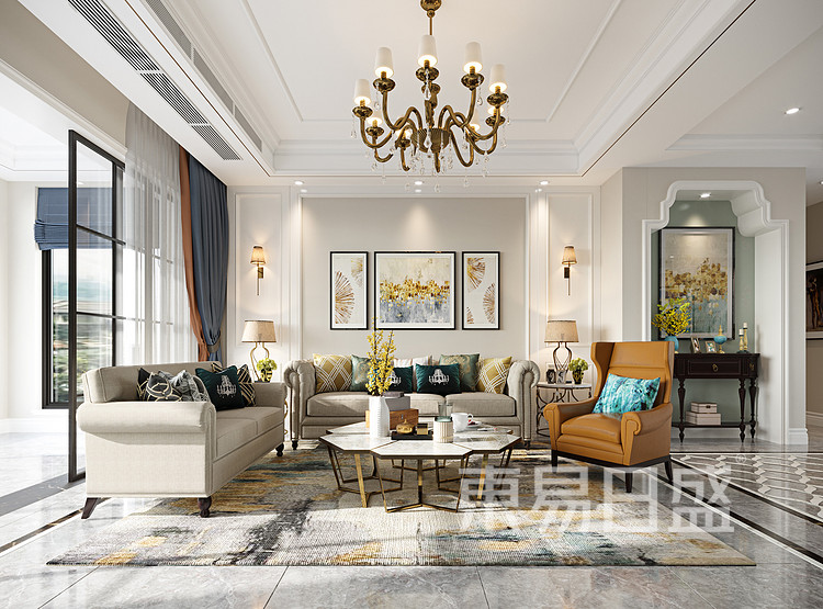 青岛装修公司-美式设计案例-客厅装修效果图