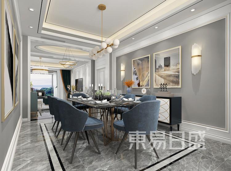 青岛装修公司-轻奢设计案例-餐厅装修效果图
