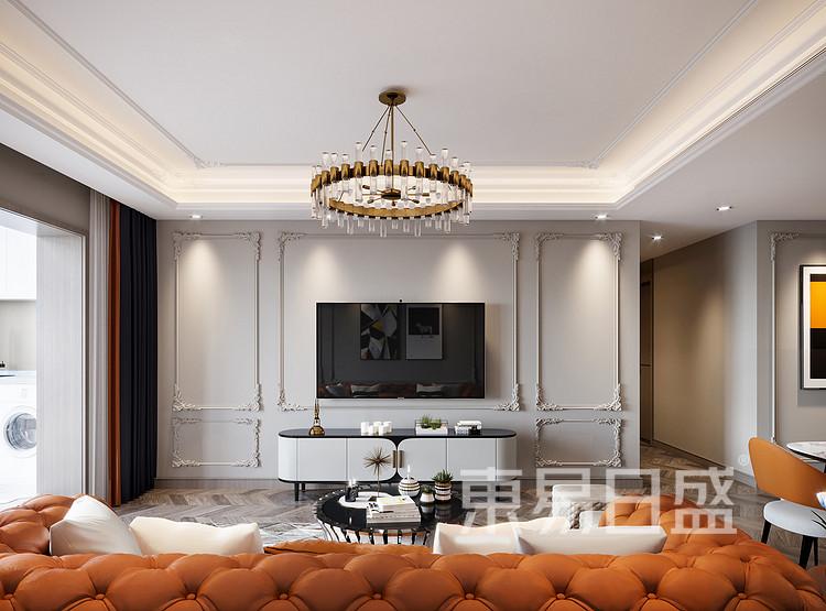 青岛装修公司-轻奢设计案例-客厅装修效果图
