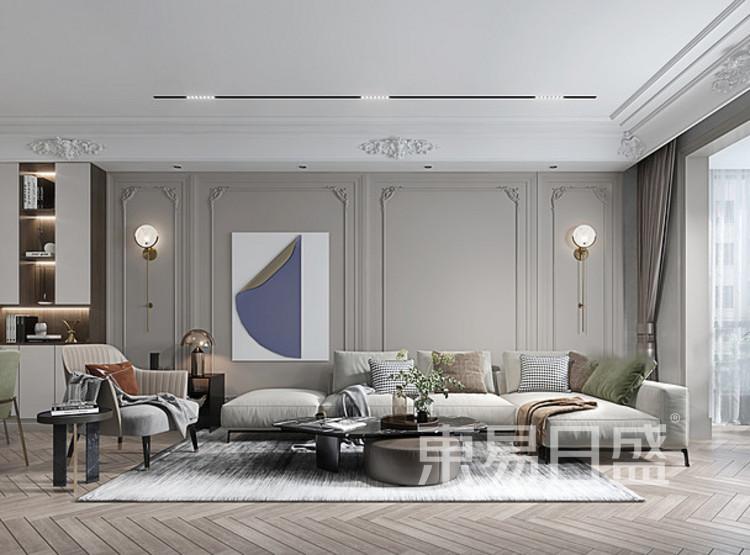 中洲崇安府混搭风格装修效果图——客厅