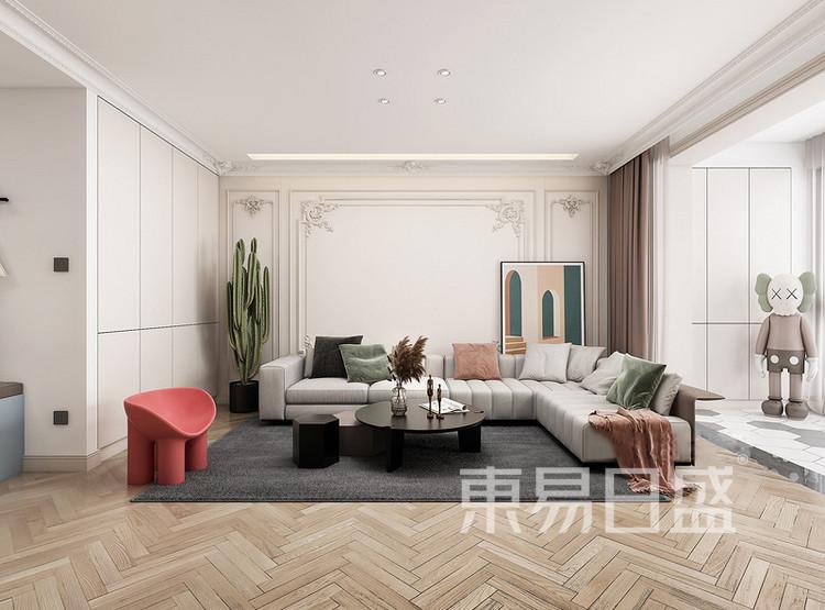 中海寰宇天下法式轻奢风格装修效果图——客厅