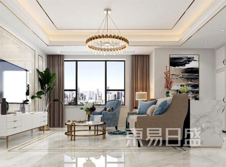 长泰国际美式轻奢风格装修效果图——客厅