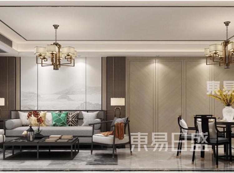 奥园观湖尚居-新中式-客餐厅装修效果图