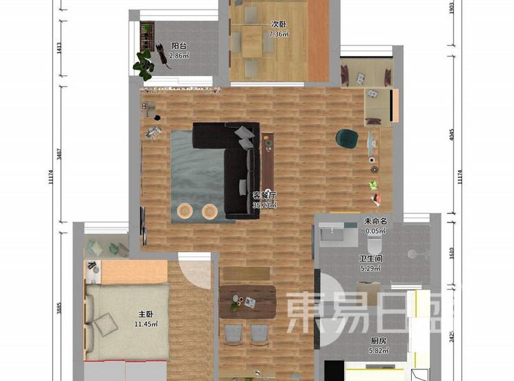 东湖城94平米客厅装修效果图