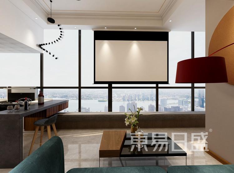 联泰滨江中心-现代风格-二居室客厅装修效果图