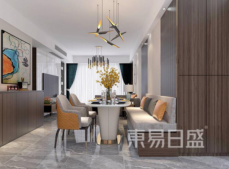安亭新镇三居室111平现代轻奢风装修设计案例——餐厅