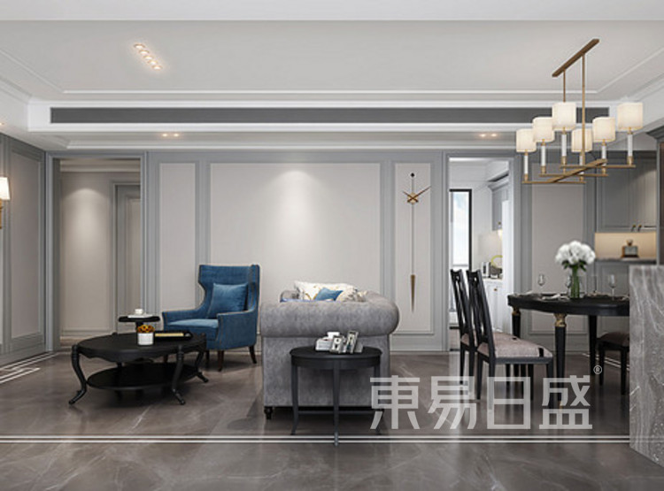 云麓里90三居室现代美式装修设计案例——客厅