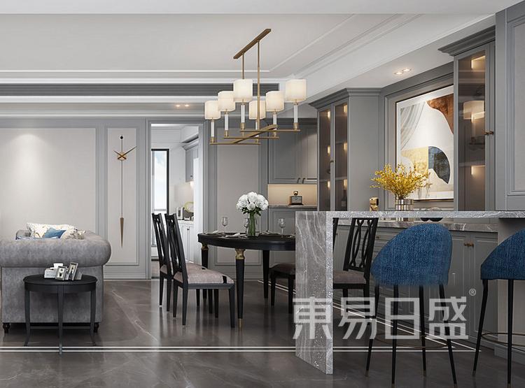 云麓里90三居室现代美式装修设计案例——餐厅