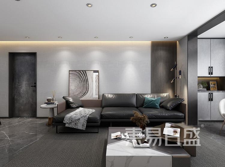 云麓里90平三居室现代简约风格装修案例——客厅
