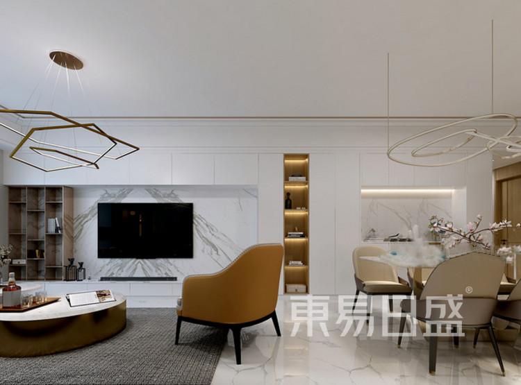 安亭新镇117平现代简约三居室装修设计案例——客厅