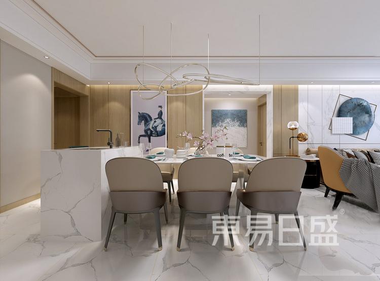 安亭新镇117平现代简约三居室装修设计案例——餐厅