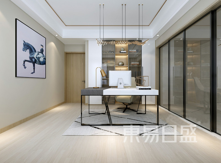 安亭新镇117平现代简约三居室装修设计案例——书房