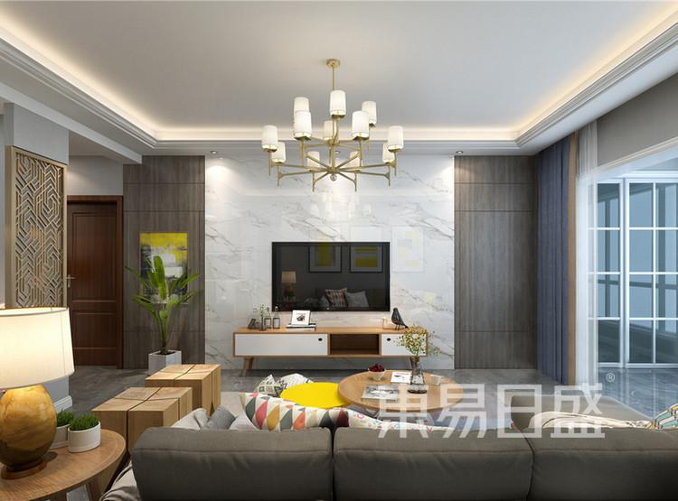 云麓里90平三居室北欧风格设计——客厅
