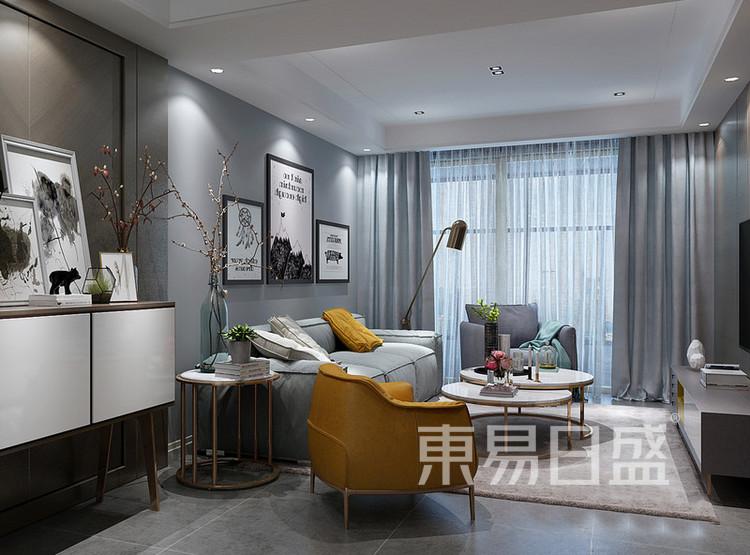 安亭新镇110平三居室风混搭装修设计案例——客厅