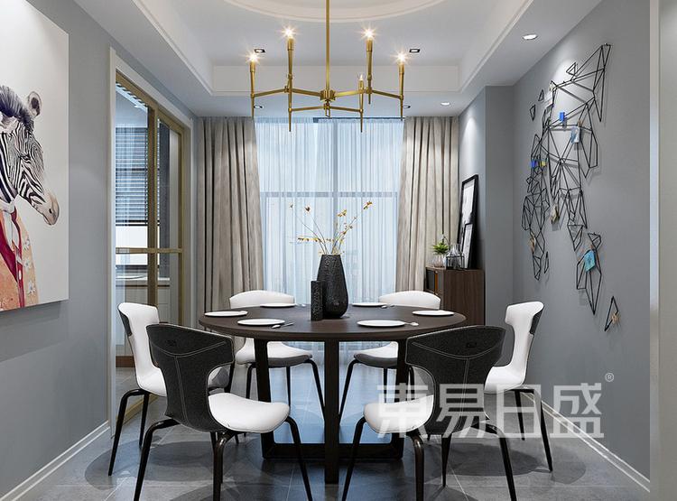 安亭新镇110平三居室风混搭装修设计案例——餐厅