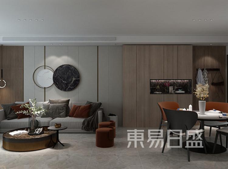 安亭新镇125平三居室现代简约装修设计案例——客厅