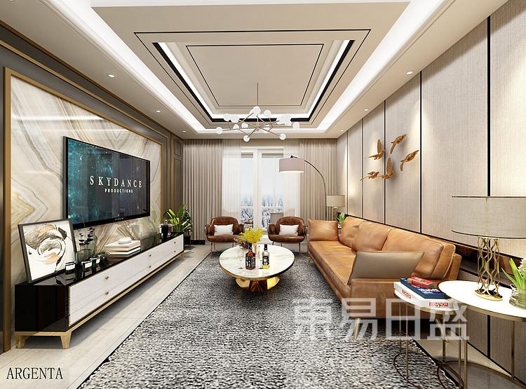 华侨城嘉陵江天-现代简约-客厅装修效果图