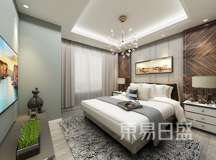 华侨城嘉陵江天-现代简约-卧室装修效果图