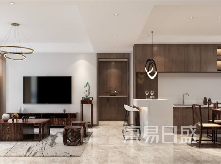 客厅装修效果图 - 新中式风格装修效果图 - 西安装修设计公司