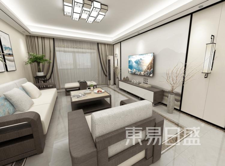 客厅装修效果图 - 新中式风格装修效果图 - 西安室内设计