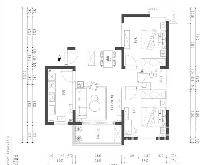 金地翔悦天下平面图 - 北欧风格装修效果图 - 西安两居室装修
