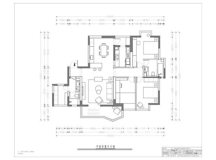 景致雅居113平米平面图 - 新中式风格装修效果图 - 西安装修设计公司